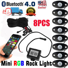 8PC RGB LED Multi-Color Offroad Rock Lights Wireless Bluetooth Truck Jeep NEW AP
