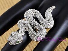 Silver Snake Asp Cobra Cleopatra Pharaoh Bellydance Ring w/ Swarovski Crystals