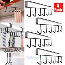 6Hook Under Shelf Coffee Cup Mug Holder Hanger Storage Rack Cabinet Hook Kitchen
