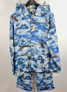 RRL Ralph Lauren Double RL pajamas sz M airplane Hawaiian Aviation shirt pants