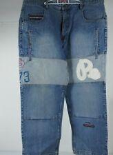 PEPE JEANS Mens Distressed Baggy Blue Denim Jeans 47x33 90s Big Logo Hip Hop