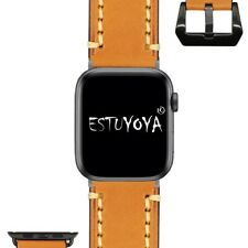 Pulsera de Cuero para Apple Watch Piel orange 42mm/44mm iWatch 6/5/4/3/2/1/SE