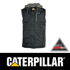 CAT Caterpillar Hooded Work Vest Jacket Insulated Black Workwear CP1320008B