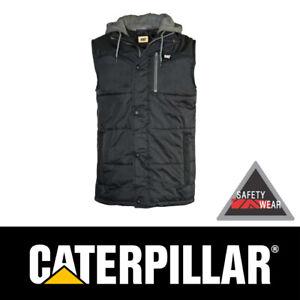 CAT Caterpillar Hooded Work Vest Jacket Insulated Black Workwear CP1320008B