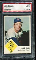 1963 Fleer Baseball #47 ROGER CRAIG New York Mets PSA 7 NM