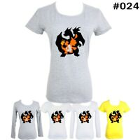 Pokemon Charmander Charmeleon Charizard Pattern Women's T-Shirt Graphic Tee Tops
