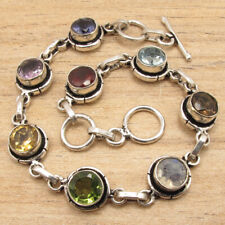 "925 Silver Plated Multicolored Multi-Gemstone Handcrafted Bracelet 7.6"" Stylish"