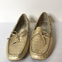 Sperry Topsider Womans Loafer Size 9 M Leather Upper Gold Snakeskin Pattern