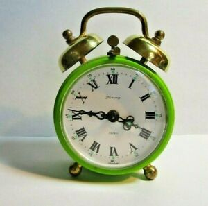 Vintage Blessings Wind Up Lime Green Double Bell Alarm Clock Working