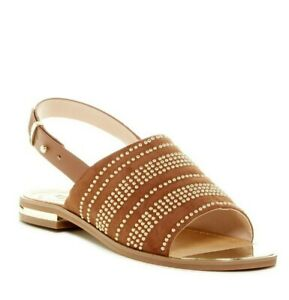 NEW French Connection HAPPY Studded Suede Brown Slingback Sandals US 9 EUR 39.5