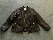 Millers: Size: 18. Chic Collarless BLACK PU Leather-Look, Zip Front Lined Jacket