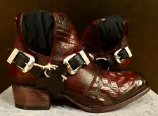 NEW FREEBIRD BY STEVEN TRUCE RED BLACK CROCO LEATHER ANKLE BOOT BOOTIES SIZE 9