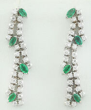 2.97 Carat Natural Emerald 14K Solid White Gold Diamond Earrings