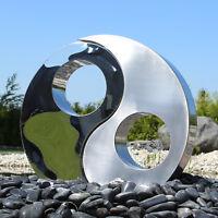Edelstahl Element  Skulptur Springbrunnen Brunnenfigur Ying Yang Gartenbrunnen