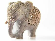 More details for nested white elephant figurines handmade in jali or openwork from a single block