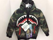 Sprayground Boys Reversible Camo/Black shark mouth jacket Size Small 7/8