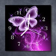 Glass Wall Clock Kitchen Clocks 30x30 cm silent Butterfly Purple
