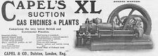 CAPEL & CO Dalston, Suction Gas Engines - Antique Engineering Advert 1909