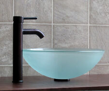 Bathroom Frosted Glass Vessel Vanity Sink Oil Rubbed Bronze Faucet + DrainT12FE3