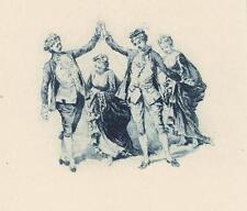 ANTIQUE VERSAILLES COSTUME MEN CLASP OF HANDS WELCOME WOMAN MINIATURE ART PRINT