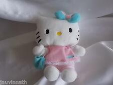 Doudou, peluche Hello Kitty robe rose, sac et noeud bleu SANRIO JEMINI