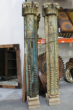 """94"""" Tall Antique Wooden Pillar Set of two Concrete Base"""
