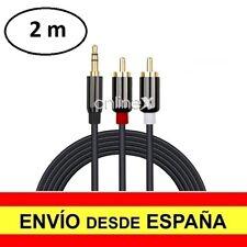 Cable Audio Jack 3.5 mm a Doble 2 RCA Conectores Bañados en Oro 2 Metros a3012