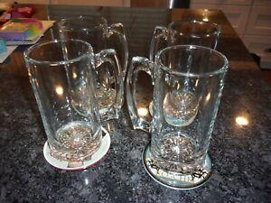 CLEAR GLASS BEER MUGS SET OF 4 - 24 oz. - NEW - STARBURST DESIGN - HEAVY - BIG -