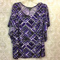 I.N. Studio 2X Plus Womens Purple Gray Print Batwing Sleeve Blouse
