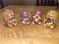 Lot Of 4 Cherub Angel Babies Floral Hair Wings (one has chip)