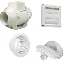 "inline monsoon fan kit 4"" 100mm c/w 3mtr ducting and grills MIXED FLOW  TIMER"