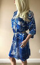 Cache Satin Button Down Exotic Career Wear To Work Shirt Dress Women's M 8 10