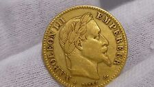 France 1862 BB Gold Coin 10 Francs Napoleon III Vintage Estate Super