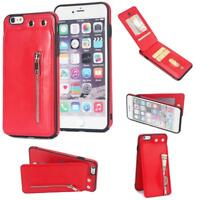 Zipper PU Leather Wallet Card Slot Stand Flip Case Cover For iPhone Samsung GB