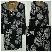 Ladies M&S MARKS & SPENCER  Lace Fluted Sleeve Black Floral Tunic Top 6 - 20