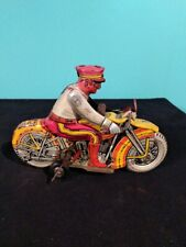 Antique Vintage MARX ROOKIE COP Police Motorcycle with Siren Wind Up Tin Toy