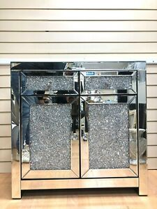 Mirrored Sideboard Sparkly Silver Diamond Crush Crystal Cabinet L80xH80XD40cm