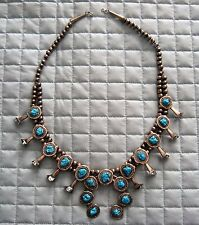 Vintage Turquoise Squash Blossom Necklace Sterling Silver