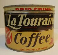 Old Vintage 1950s LaTouraine Coffee KEYWIND COFFEE TIN 1 POUND SYRACUSE NEW YORK