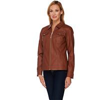 Dennis Basso Faux Leather Zip Front Jacket w/Seam Detail Cognac Color Size XS