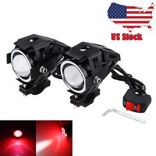 2x 125W U7 Motorcycle RED LED Headlight Driving Fog Lights Spot Lamps + Switch