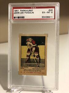1951-52 Parkhurst John Lee Fogolin PSA 6, #46, RARE, Parkie, Chicago, Low Pop,