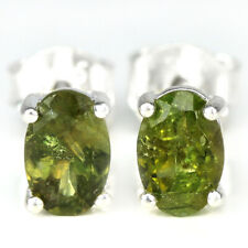 NATURAL GREEN TOURMALINE OVAL STERLING 925 SILVER STUD EARRING