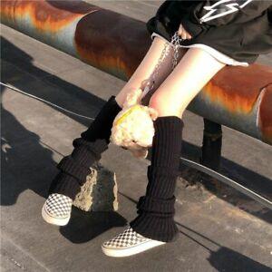 Punk Solid Black Cool Knit Elastic Leg Warmer Long Socks Women Outdoor Knee High