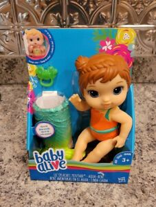 Baby Alive Lil' Splashes Mermaid Color Changes  Clip on Tail Pacifier Brown Hair