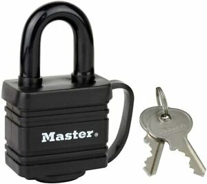 Master Lock 7804EURD Laminated Padlock with Key and Thermoplastic Cover, Black,
