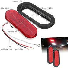 """1 Pair 6"""" Truck Trailer Brake Light Turn Signal Sealed Marker LED Light Red Lens"""