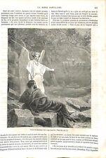 Ancien Testament Ange Chandelier d'Or à Sept Branches Israël Bible GRAVURE 1864
