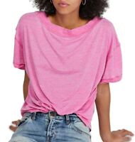 Free People Women's Top Magenta Pink Size XS Knit Burnout Open Back $58 #350