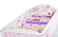 BABY 5PC BEDDING SET ALLROUND BUMPER COTBED 140x70CM DUVET PILLOW Sheep Pink